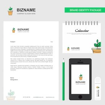 Carta intestata aziendale del vaso della pianta, calendario 2019 e modello di vettore di progettazione di app per dispositivi mobili