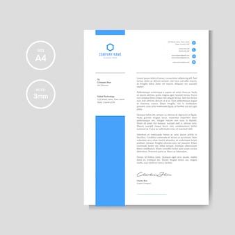 Carta intestata blu semplice e minimale
