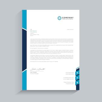 Carta intestata blu semplice premium