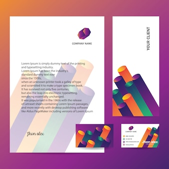 Carta intestata, busta e biglietto da visita con design alla moda