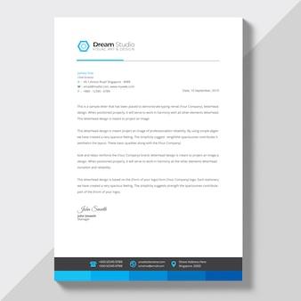 Carta intestata con dettagli blu
