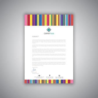 Carta intestata di affari con strisce design moderno