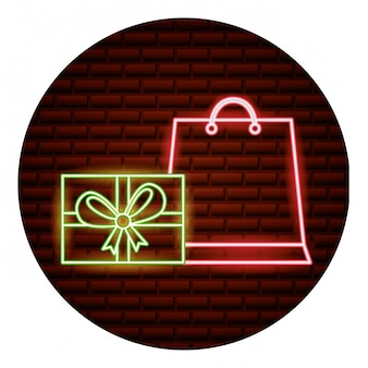 Carta neon dello shopping online