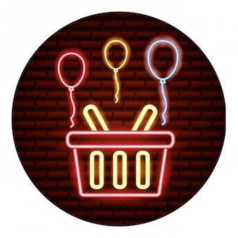 Carta neon dello shopping online