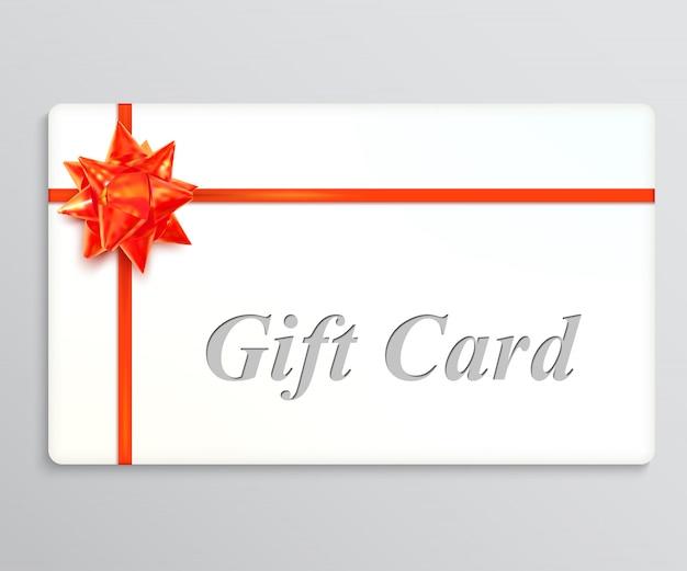 Carta regalo bianca con un fiocco rosso e nastri. elemento di design illustrazione vettoriale