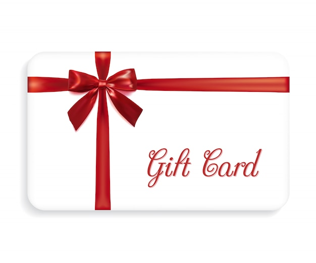 Carta regalo con un fiocco rosso e nastri. elemento di design illustrazione vettoriale