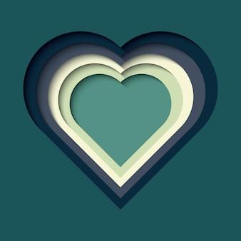 Carta ritagliata sfondo con effetto 3d, a forma di cuore in colori vivaci