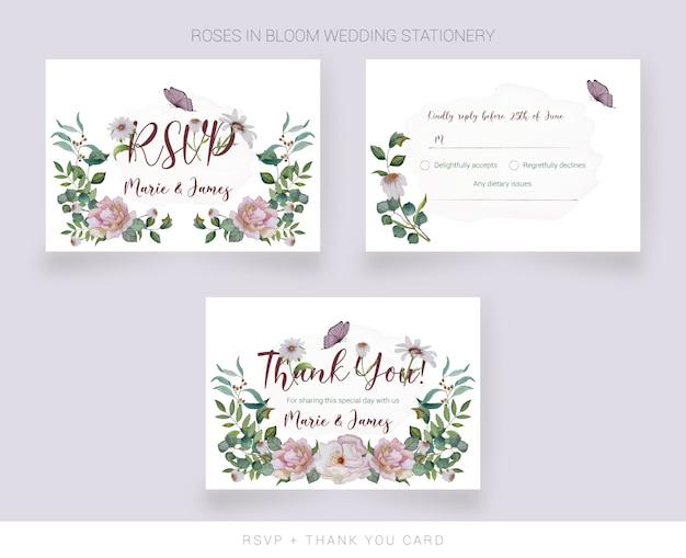 Carta rsvp per matrimoni e carta di ringraziamento con fiori dipinti ad acquerello