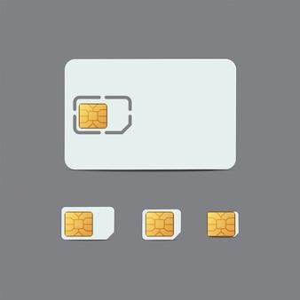 Carta sim. scheda di plastica di connessione cellulare. chip di sim card, micro e nano sim