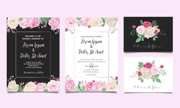 Carta stabilita dell'invito di nozze floreale bello