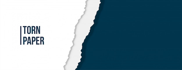 Carta strappata strappata di colore bianco e blu