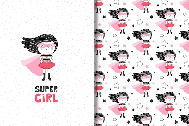Carta sveglia del supereroe della bambina e modello senza cuciture