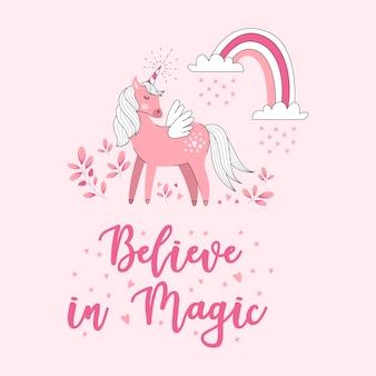 Carta sveglia dell'illustrazione dell'unicorno di vettore con le virgolette