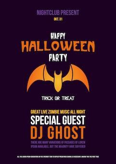 Carta tagliata flyer con bat per la festa di halloween.