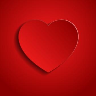 Carta tagliata illustrazione con forma di cuore rosso su sfondo rosso. concetto di consapevolezza medica