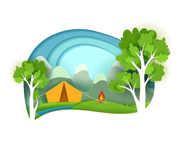 Carta tagliata in stile campeggio in montagna sul fiume. alberi di carta, una tenda, un falò e montagne illustrazione
