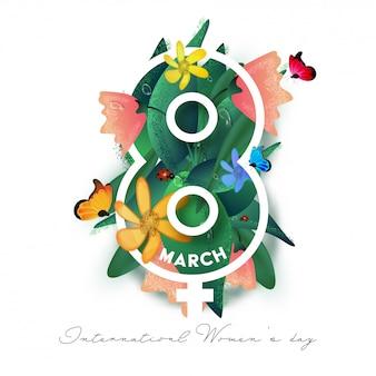 Carta tagliata l'8 marzo con segno femminile di genere, farfalle, coccinella, fiori e foglie su fondo bianco per la giornata internazionale della donna.