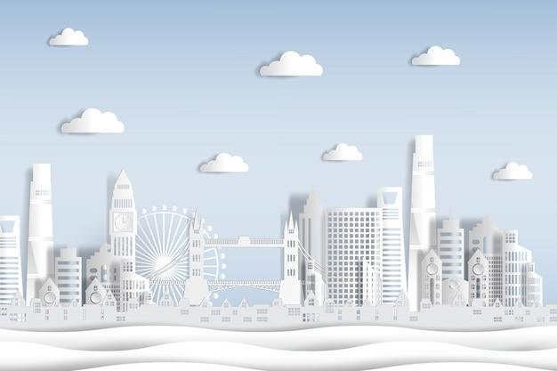 Carta tagliata stile inghilterra e skyline della città con monumenti di fama mondiale di londra.
