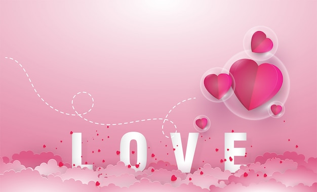 Carta tagliata stile profondo, concetto di san valentino.