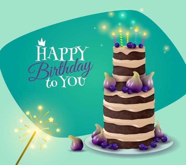 Carta torta di compleanno