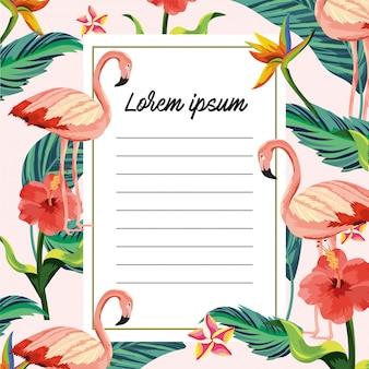 Carta tropicale con fenicotteri animali e foglie