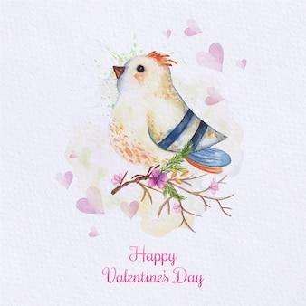 Carta uccello acquerello. carta dipinta con uccello sul ramo. carta di amore con acquerello carino