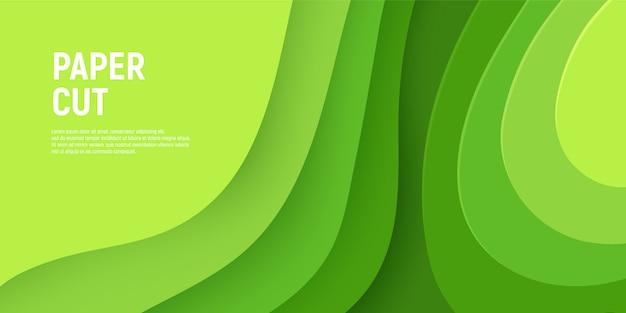 Carta verde tagliata con sfondo di melma 3d e strati di onde verdi.