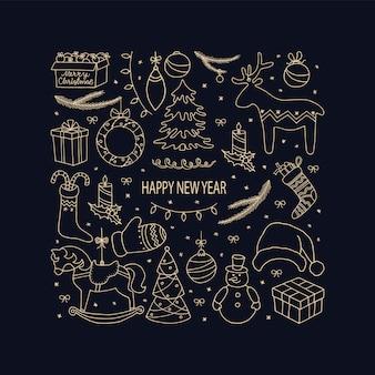 Carta vettoriale di felice anno nuovo con elementi decorativi