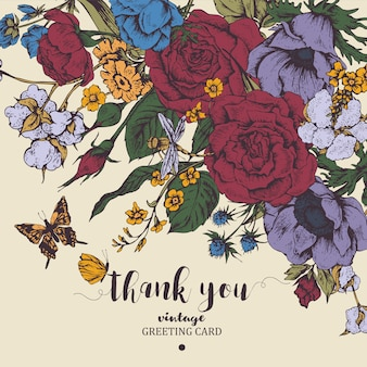 Carta vettoriale floreale vintage con rose, anemoni e farfalle