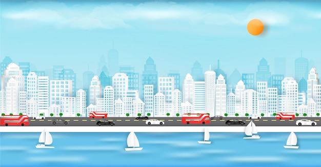 Carta vettoriale tagliata e nella grande città con edifici e case.