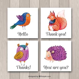 Carte acquerello con animali psicodelici