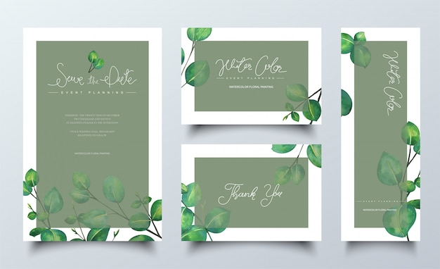 Carte acquerello naturali con foglie verdi