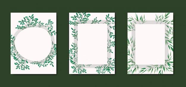 Carte con cornice geometrica e foglie di alloro