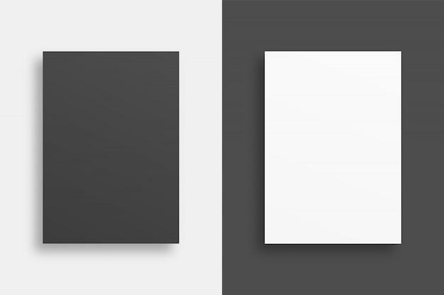 Carte con ombre morbide. foglio di carta bianco modello di poster. . modello . illustrazione realistica.