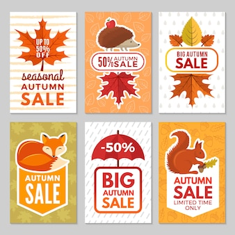 Carte d'autunno. riccio, volpe, scoiattolo e foglie di autunno con l'ombrello da pioggia. simboli autunnali di carte per grandi vendite