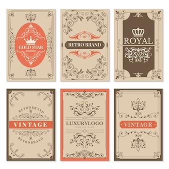 Carte d'epoca. gli ornamenti e le strutture vittoriani classici a filigrana floreali per le etichette progettano il modello con testo