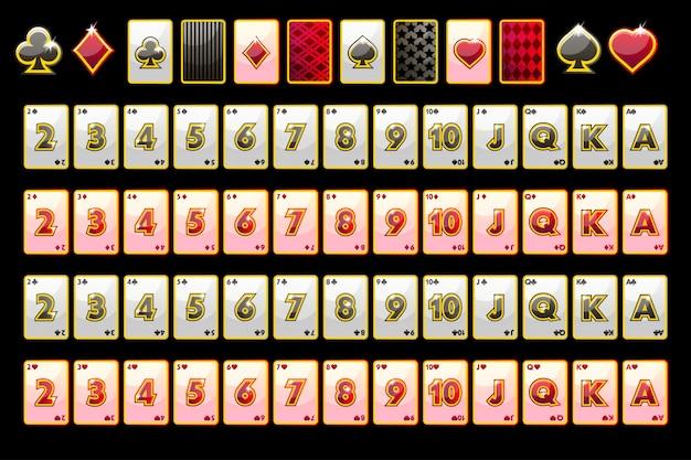 Carte da gioco del poker, mazzo completo e simboli delle carte per le slot machine e una lotteria.