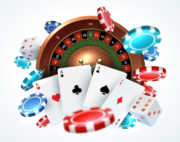 Carte da gioco poker chips. casinò online che cadono dadi che giocano concetto di gioco realistico con roulette fortunata per il tempo libero