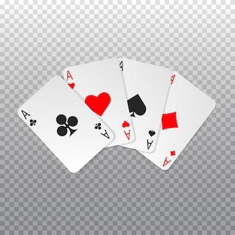 Carte da poker a quattro assi isolate. giocando a carte.