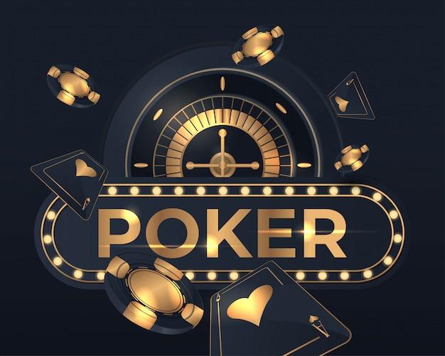 Carte da poker del casinò e design della ruota della roulette
