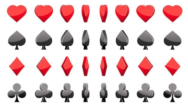 Carte da poker simboli 3d, rotazione del gioco di animazione
