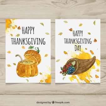 Carte di acquerello di ringraziamento