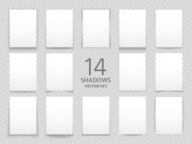 Carte di carta bianca con diverse ombre trasparenti isolate. grande set di ombre vettoriali per il design multiuso