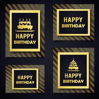 Carte di compleanno modello vettoriale