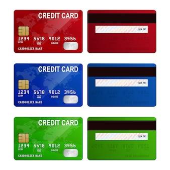 Carte di credito, isolate, vettoriale