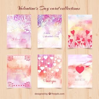 Carte di giorno di san valentino acquerello