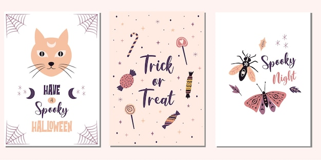 Carte di halloween carino. dolcetto o scherzetto illustrazioni spettrali.