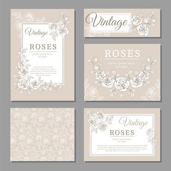 Carte di invito vintage classico matrimonio con rose e elementi floreali vettoriali modelli