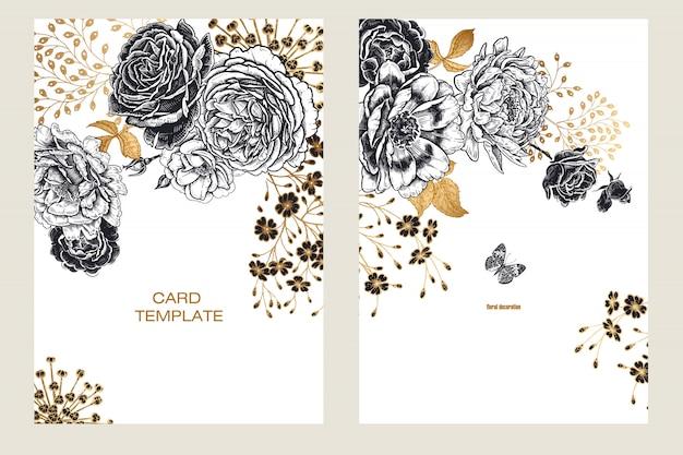 Carte di modelli di inviti di nozze con peonie di fiori.