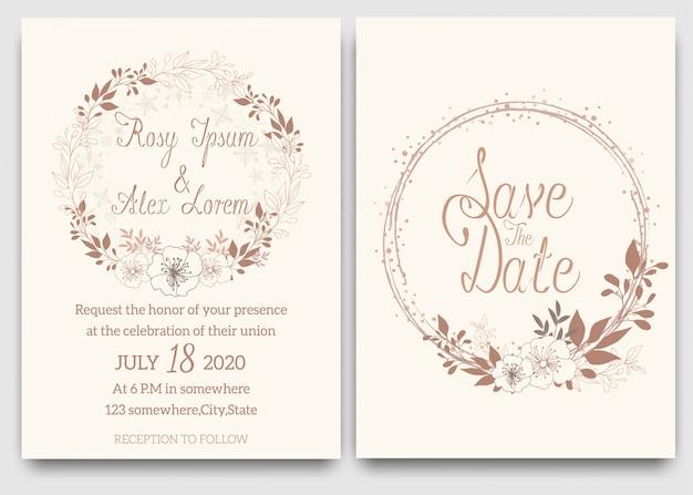 Carte di nozze eleganti sono costituite da vari tipi di fiori.
